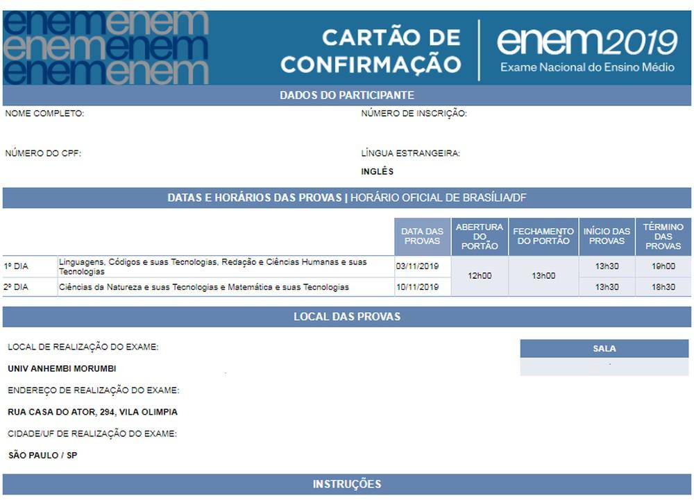Cartão de confirmação pode ser acessado pelo aplicativo do Inep e pelo site da instituição — Foto: Reprodução/Inep