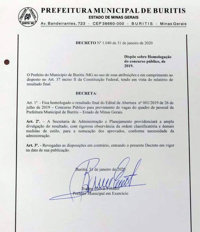 Decreto 1.040 de 31 de janeiro de 2020